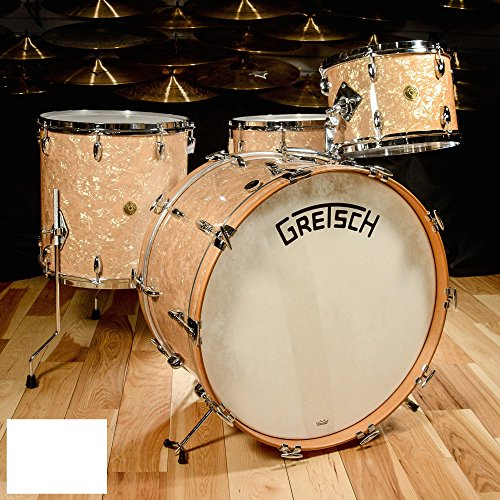 Pearl Floor Legs Tom (Gretsch Broadkaster 4pc Drum Kit 13/16/24/6.5x14 Bomber Vintage Build Antique Pearl)