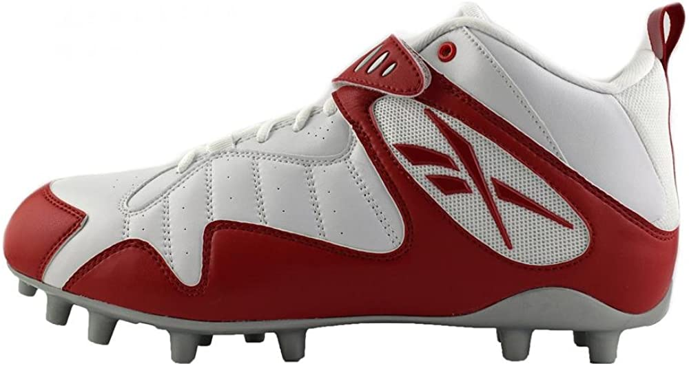 Reebok PRO All Out ONE MID MP Mens Football Cleats White RED 15
