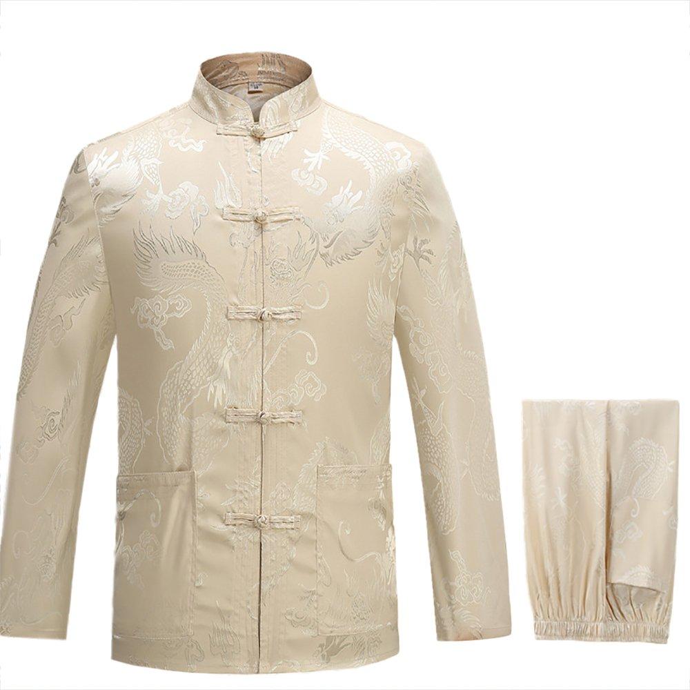 KIKIGOAL Mens Martial Arts Kung Fu Uniform Long Sleeve Tang Suit With Dargon Pattern (M, beige)