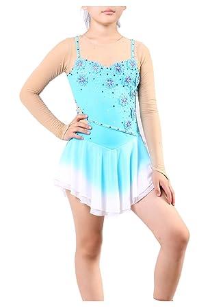 GZHGF Mädchen Eislaufen Kleid Handmade Strass Blume Eislaufen Tanzen ...