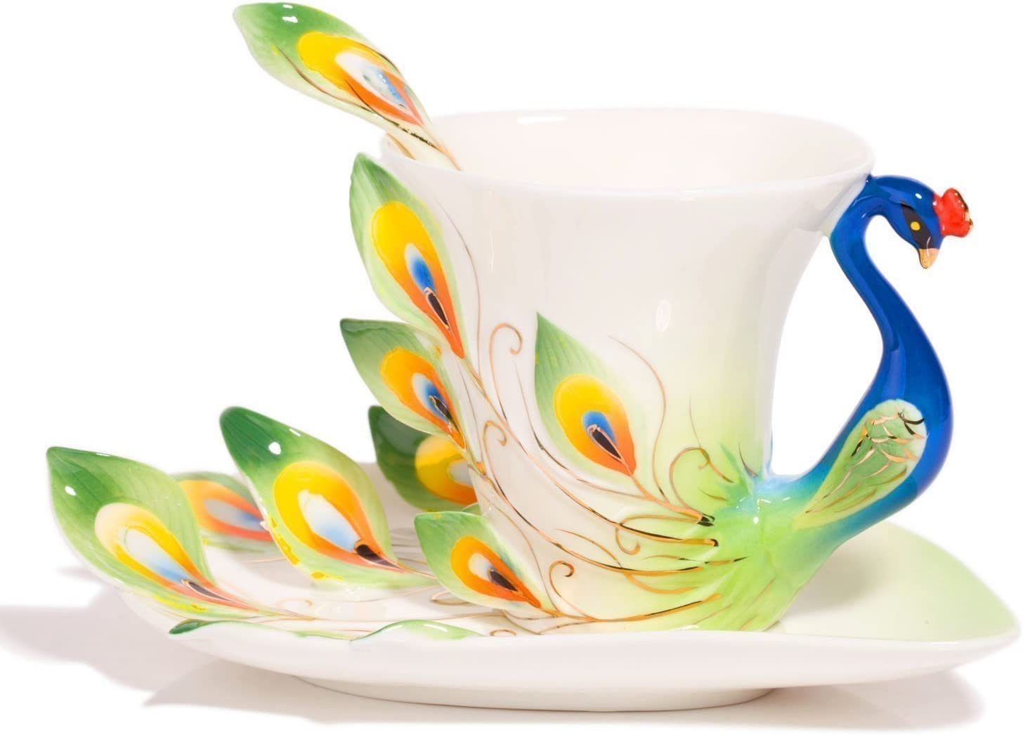 New Fashion Hand Crafted Porcelain Enamel Peacock Coffee Cup Set with Saucer and Spoon – Gift Packaging