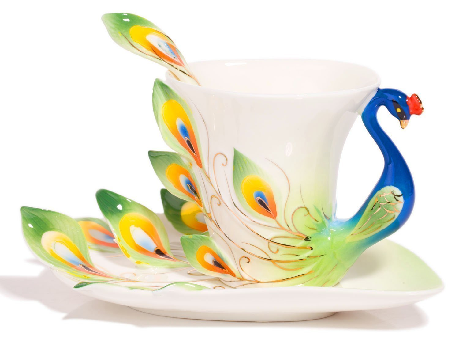 New Fashion Hand Crafted Porcelain Enamel Peacock Coffee Cup Set with Saucer and Spoon - Gift Packaging ELECVELON SYNCHKG109251