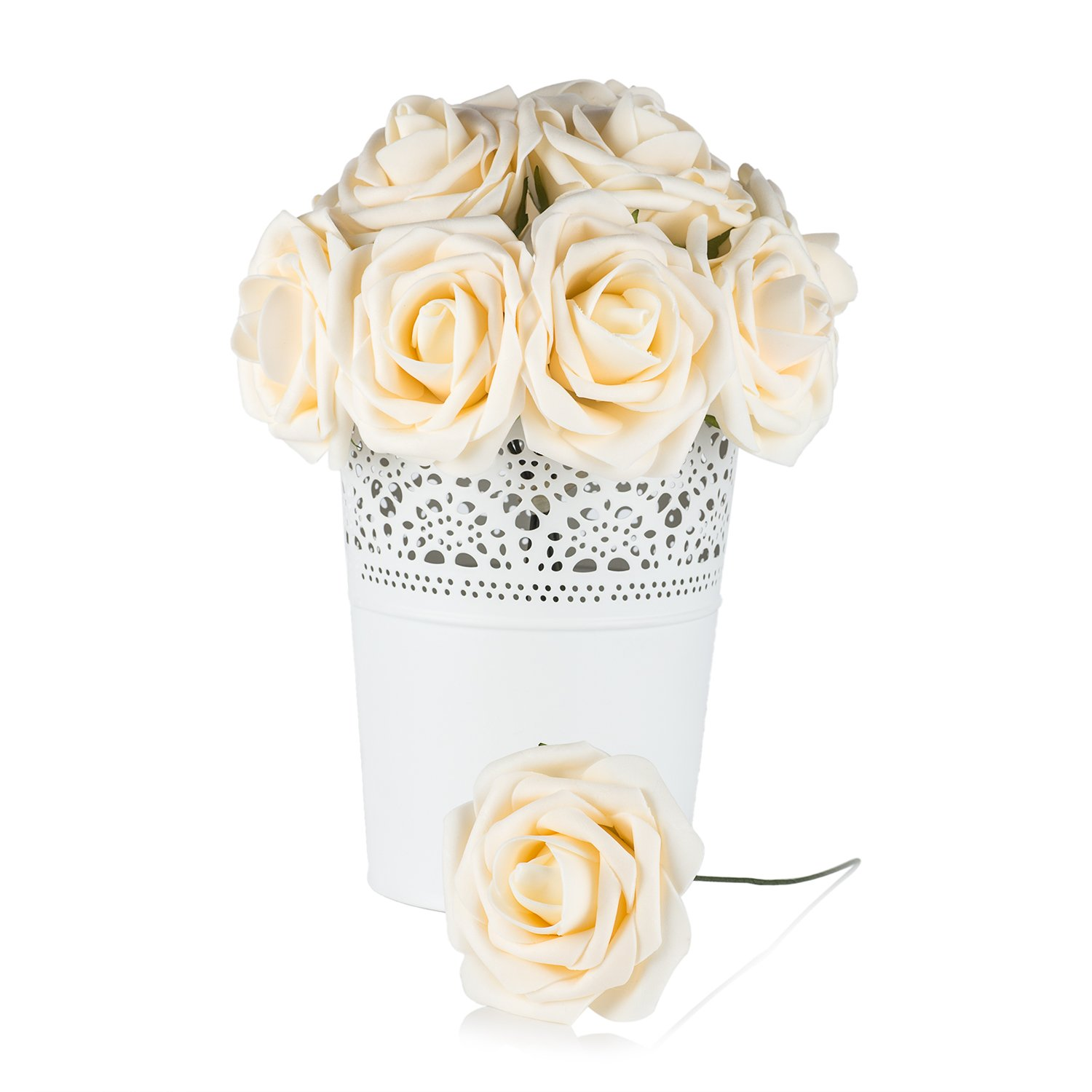 Umiss Wedding Bouquet 50pcs Artificial Flowers White Real ...