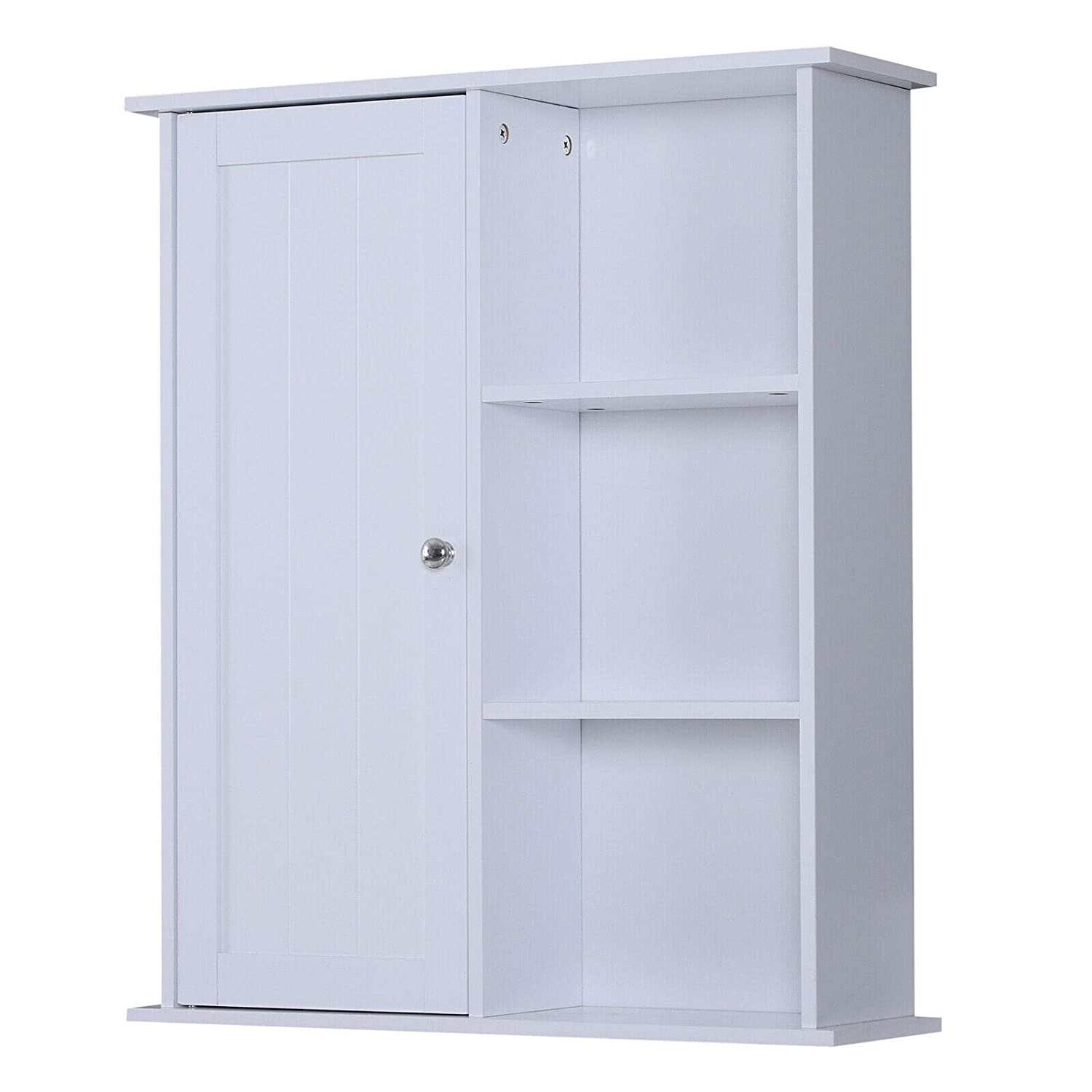 "24"" x 28"" H Wooden Wall Mounted Bathroom Storage Cabinet White w/Door & Shelves"