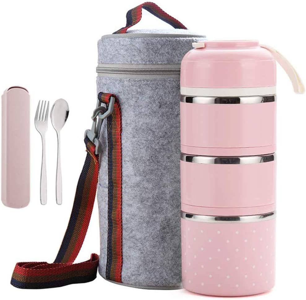Cute Bento Stackable Lunch Box with Flatware Set Stainless Steel Lunch Containers Leakproof Food Container Insulated Lunch Bag for Adults Women Men Kids (Pink, 3-Tier)