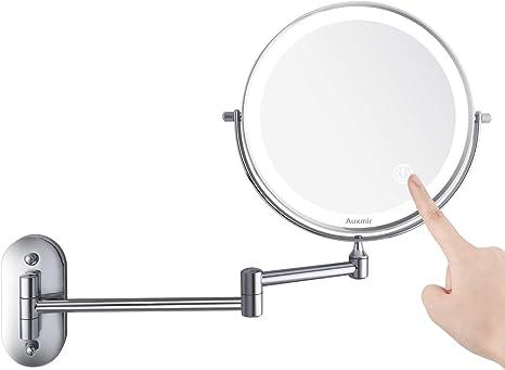 Kosmetikspiegel Montage Wandspiegel Schminkspiegel Beleuchtung 10x Vergrößerung