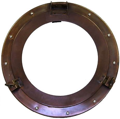 nautical iron dp mirror finish com amazon quot porthole decor antiqued