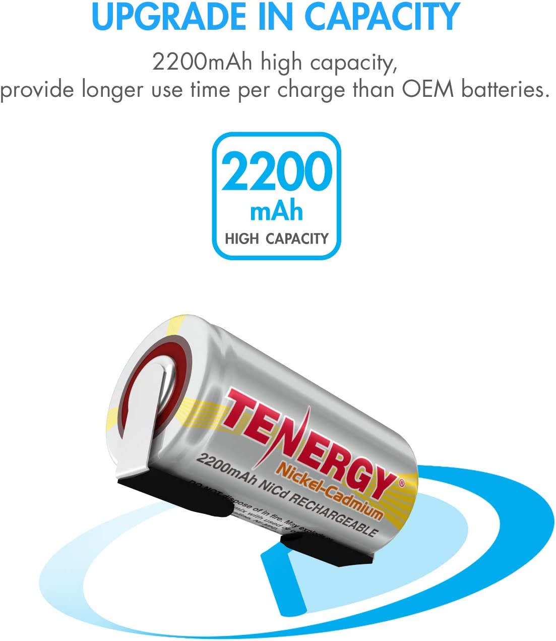60 Pack Tenergy 2200mAh Sub C NiCd Battery for Power Tools 1.2V Flat Top Rechargeable Sub-C Cell Batteries with Tabs