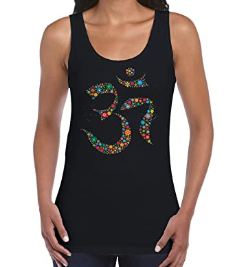 fdf64c688f330 Tribal T-Shirts Womens Floral Om Symbol Yoga Vest Top  Amazon.co.uk   Clothing
