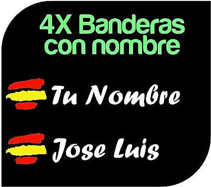 x4 Pegatinas Vinilo Bandera España + tu Nombre - Bici, Casco, Pala De Padel, Monopatin, Coche, Moto, etc. Kit de Dos Vinilos (Pack Fuentes 1): Amazon.es: Coche y moto