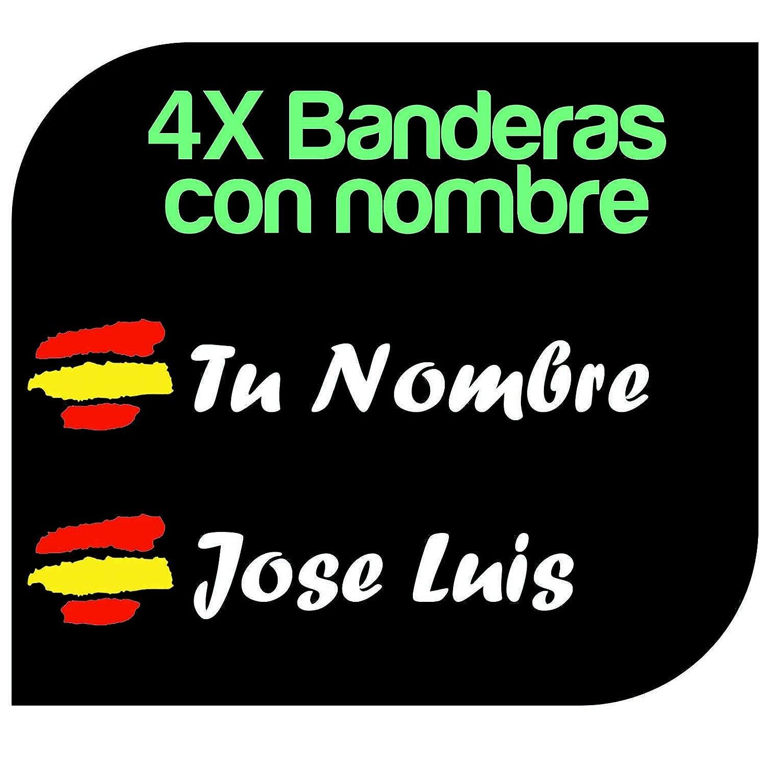 x4 Pegatinas Vinilo Bandera España + tu Nombre - Bici, Casco, Pala ...