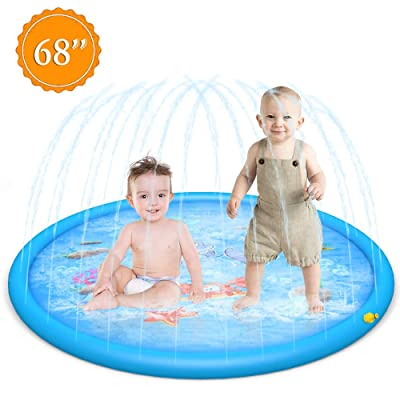 """Newland Sprinkler for Kids,Splash Pad, 68"""" Sprinkler Play Mat, Inflatable Water Toys Fun for Outdoor Swimming Pool Play Mat for Babies and Toddlers (Blue Dolphin): Garden & Outdoor"""