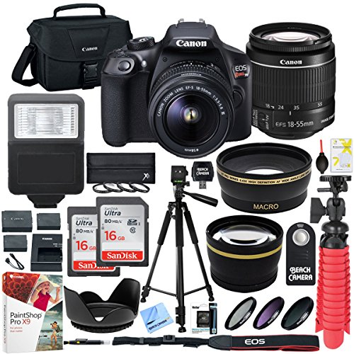Canon T6 EOS Rebel DSLR Camera with EF-S 18-55mm f/3.5-5.6 IS II Lens and Two (2) 16GB SDHC Memory Cards Plus Triple Battery Tripod Cleaning Kit Accessory Bundle (Sdhc Bundle Card)