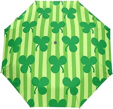 Green Clover Pattern Windproof Rainproof Automatic Foldable Umbrella,Travel Umbrella Compact Sun//Rain Hot-selling