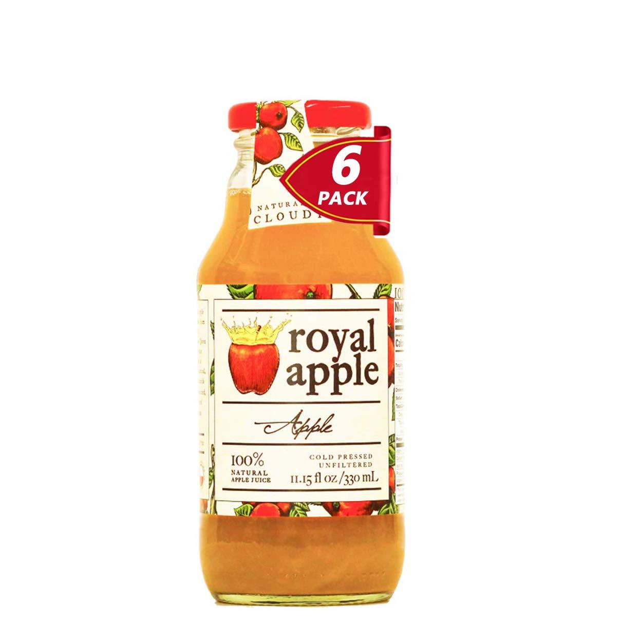 Royal Apple Pure Premium 100% Natural Apple Juice | No Sugar Added, Non-GMO, No Preservatives, Good Source of Vitamin C Source, Healthy Kids Juice Drink, 11.15 fl oz (330mL), 6 Pack