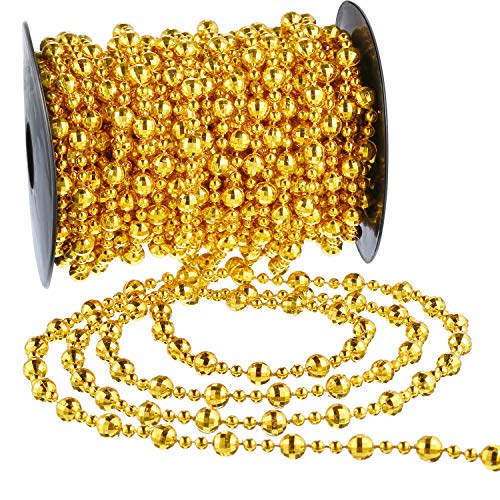 Pangda 49 Feet Christmas Tree Beads Garland Strands Chain for Christmas Wreath Decoration Table Centerpiece (Gold)