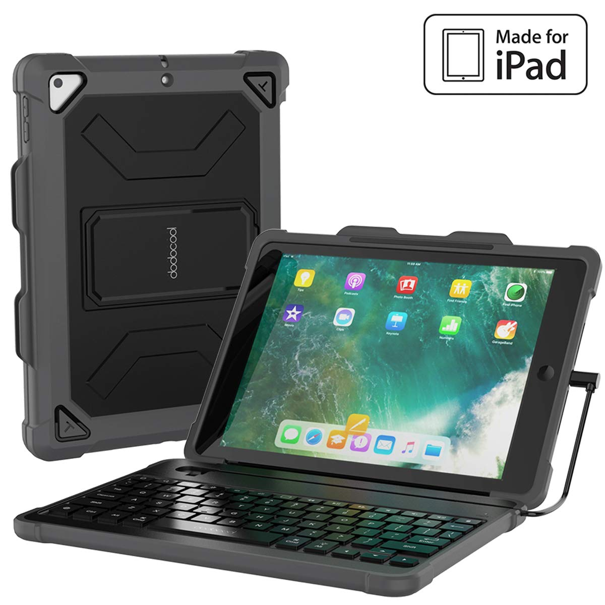 dodocool Keyboard Case for iPad 9.7 2018 6th Generation Cases with Keyboard [MFi Certified] with Stable Wired Connection, Pencil Holder, Shortcuts, Auto Sleep/Wake, Detachable Backlit Keyboard