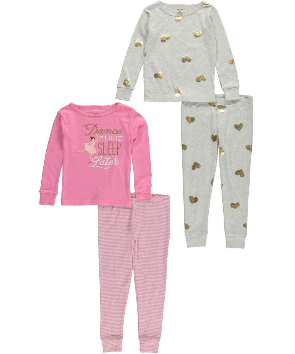 Carter's Little Girls' Toddler ''Love to Dance'' 4-Piece Pajamas - pink/multi, 5t