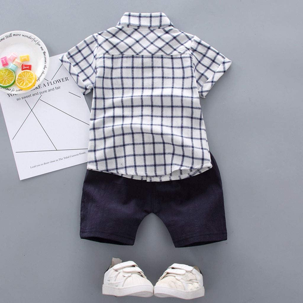 Toddler Kids Infant Baby Boys Clothes Set Summer Short Sleeve Plaid Shirt with Pocket and Shorts 2pcs Outfits