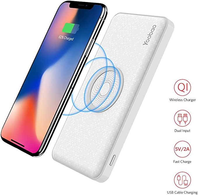 Wireless Charger Power Bank Yoobao W5 2 in 1 Wireless & Wired Charger 5000mAh Portable Charger Dual USB Output & Input Qi Wireless Charging Pad for