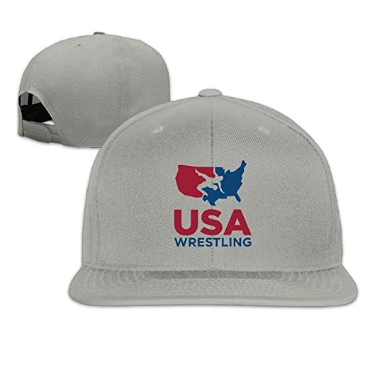6b9477f26b7b1 Amazon.com  Facecho Adjustable Classic Team USA Wrestling Flat Bill Plain  Snapback Trucker Hat Hat Baseball Hip Hop Caps Ash  Clothing