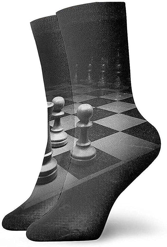 sam-shop Calcetines de vestir unisex 3D Black Chess Battle Unisex Calcetines divertidos Calcetines casuales 30cm / 11.8 pulgadas