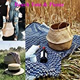Natural Craft Medium Size Seagrass Belly Basket for Storage, Laundry, Picnic and Woven Straw Beach Bag - Plant Pots Cover Indoor Decorative