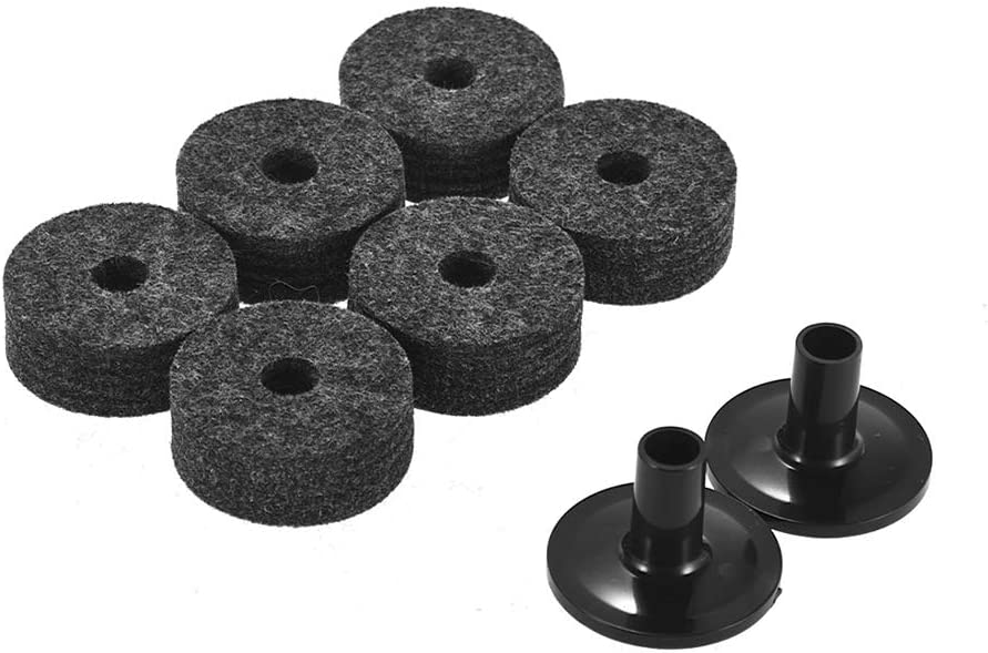 2 PCS Cymbal Sleeves Replacement Kit for Shelf Drum Grey Festnight Drum Accessories Set 6 PCS Cymbal Stand Felt Washers