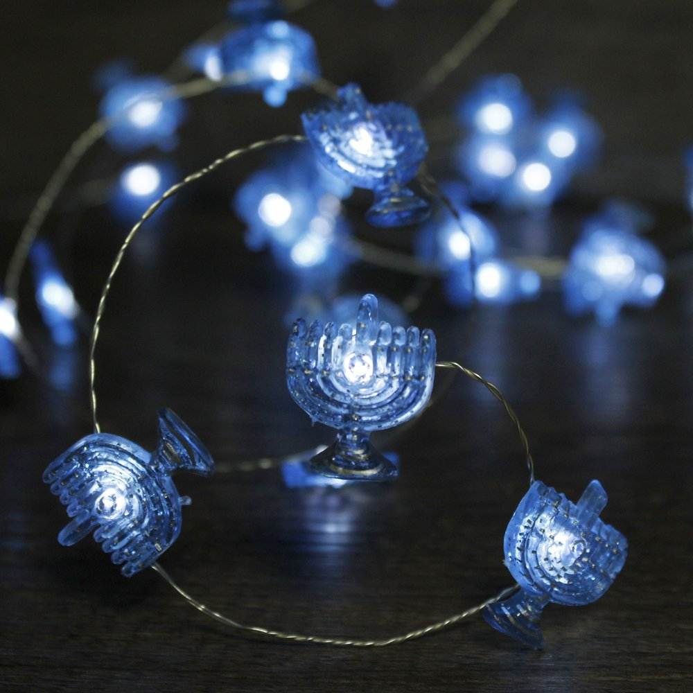 Impress Life Chanukah Decorative String Lights, Hanukkah Menorah Lights 10 ft Silver Wire 40 LEDs Battery Operated Jewish, Wedding, Parties, Bedroom Decorations Dimmmer Timer Remote Control by Impress Life