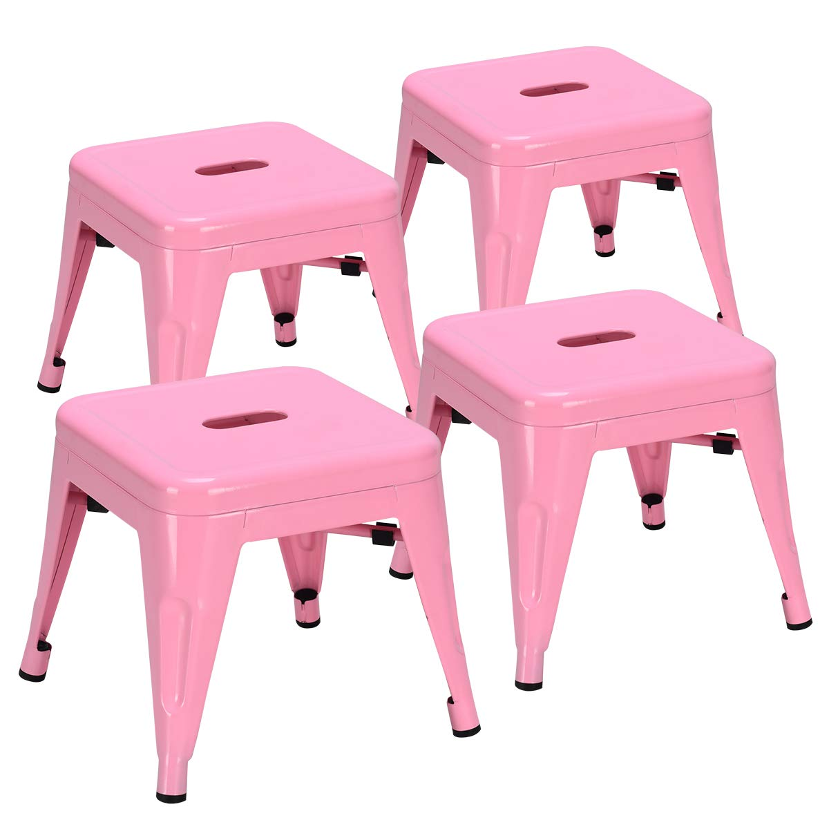 COSTWAY Kids Metal Stools Steel Barstools Vintage Antique Style Counter Bar Stool (Pink, Set of 4) by COSTWAY