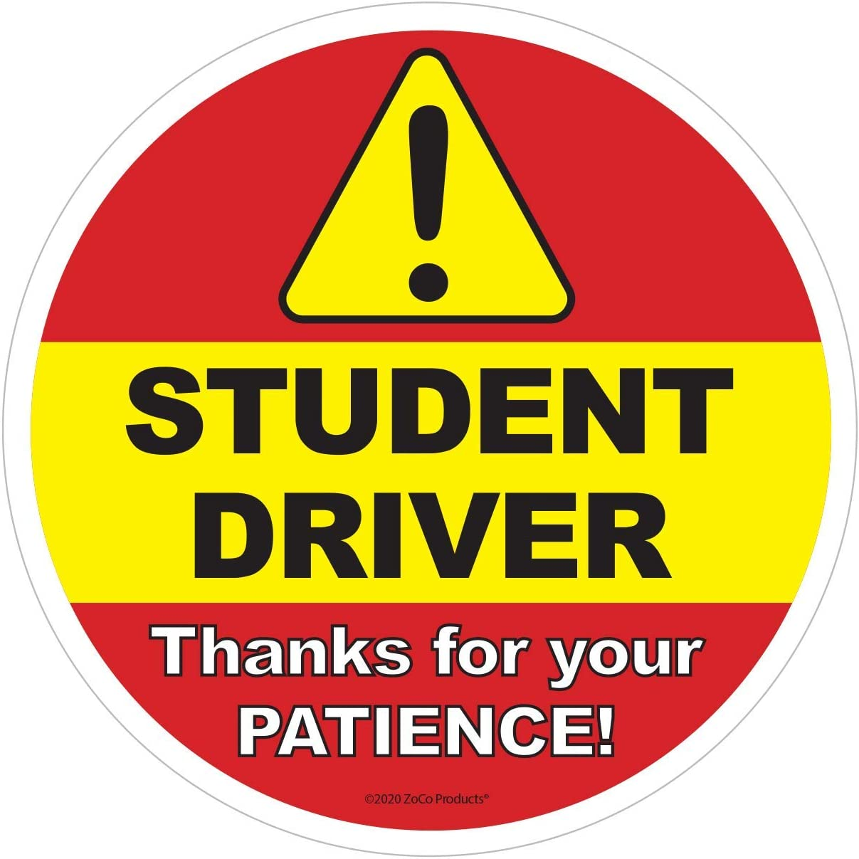 """Student Driver Sticker-Bright Yellow-Safety Decal School Teen Driver 4/"""" 2 Pack"""
