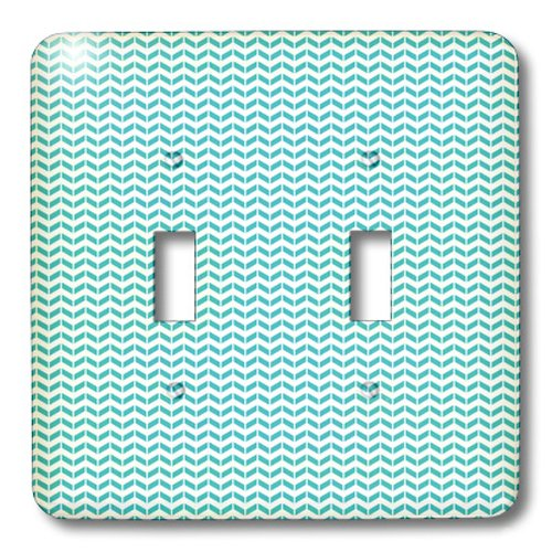 3dRose lsp_215858_2'Aqua And White Herringbone Pattern' Double Toggle Switch Multicolor