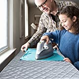 Ironing Blanket, Bukm Magnetic Mat Laundry Pad, Quilted Washer Dryer Heat Resistant Pad, Ironing Board Covers (33 1/2 x 19, Grey) (Grey)