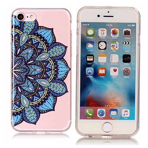 iPhone 7 Hülle, Modisch Blaue Mandala Transparent TPU Silikon Schutz Handy Hülle Handytasche HandyHülle Etui Schale Schutzhülle Case Cover für Apple iPhone 7