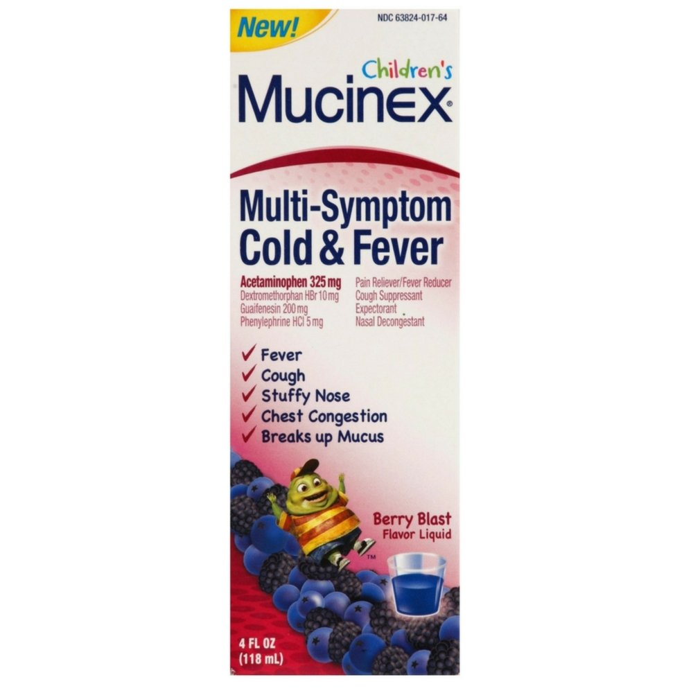 Mucinex Children's Multi-Symptom Cold and Fever Liquid, Berry Blast, 4 oz