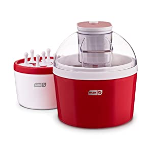 DASH DIC700RD 2-in-1 Ice Cream, Frozen Yogurt, Sorbet + Popsicle Maker with with Easy Ingredient Spout, Double-Walled Insulated Freezer Bowl & Free Recipes, 1 quart, Red