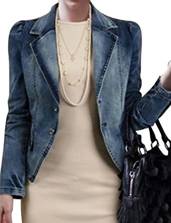 6b04157ee74e4 Oberora-Women Fashion Plus Size Lapel Denim Jean Jacket Coat Blazer  Outerwear at Amazon Women s Coats Shop