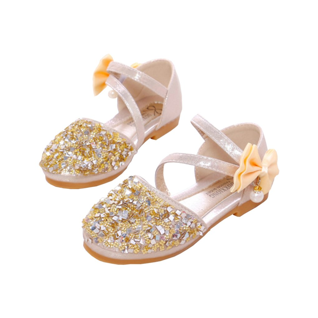 lakiolins Toddler Girls Summer Closed Toe Bling Sandals Princess Flat Shoes with Bowknot Pearls Ankle Straps Golden Size 11.5M