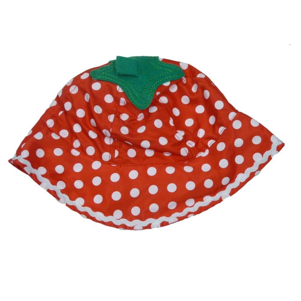 ABG Infant Girls Red Polka Dot Sun Hat Floppy Strawberry Bucket Cap