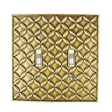 Meriville Colfax 2 Toggle Wallplate, Double Switch Electrical Cover Plate, Antique Gold