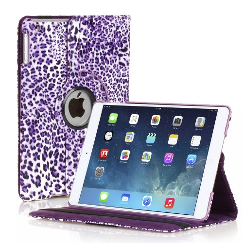TNP iPad Mini Rotating Case (Leopard Purple) 360 Degree Stand Smart Cover Flip Protective PU Leather For iPad Mini 3, iPad Mini 2 & 1, Multi Viewing Angles, Auto Sleep & Wake Feature & Stylus Holder