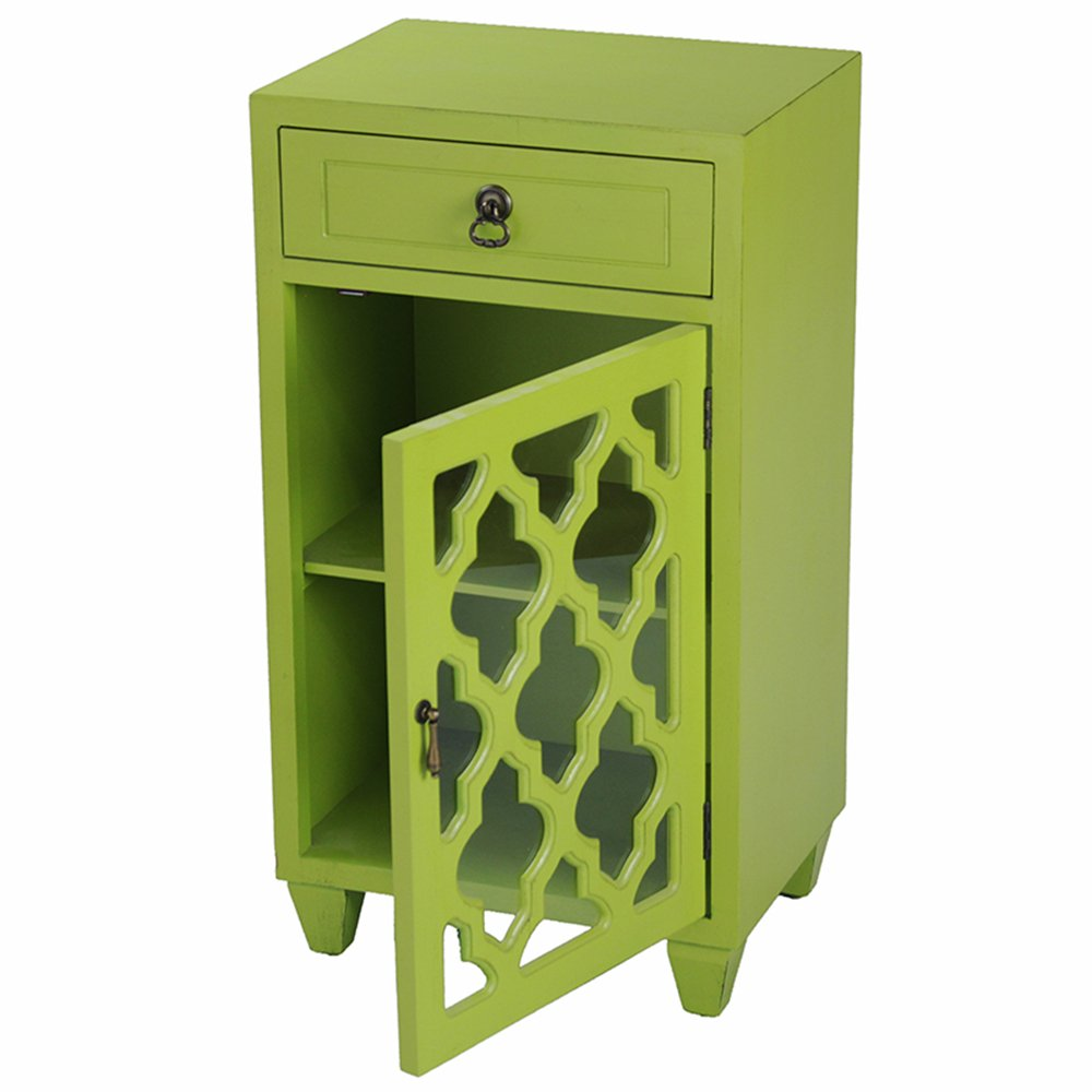 Heather Ann Creations Single Drawer Distressed Storage Cabinet with Multi Clover Glass Window Inserts, 30'' x 18'', Bright Lime