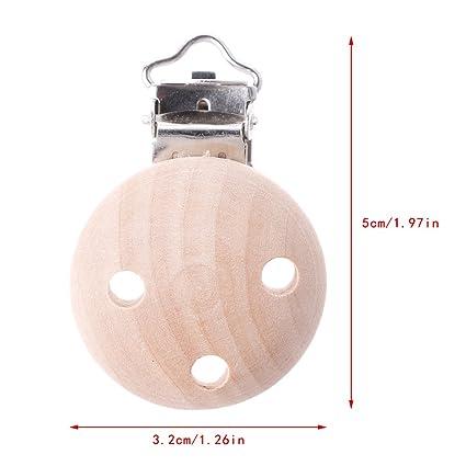 attache-tétine redonda para bebé (madera, clips porte-tétine ...