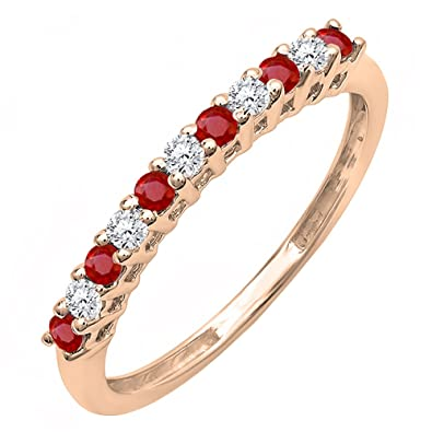 Amazon 10K Gold Round Ruby And White Diamond Anniversary
