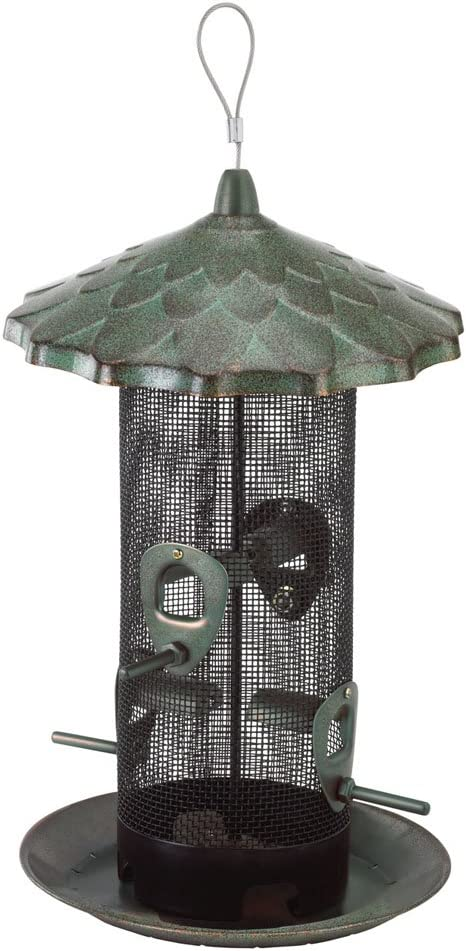 Belle Fleur 50174 Capacity, Rustic Stokes Select Acorn Feeder, 4 Feeding Ports, 2.6 Pounds Bird Seed, Patina Green