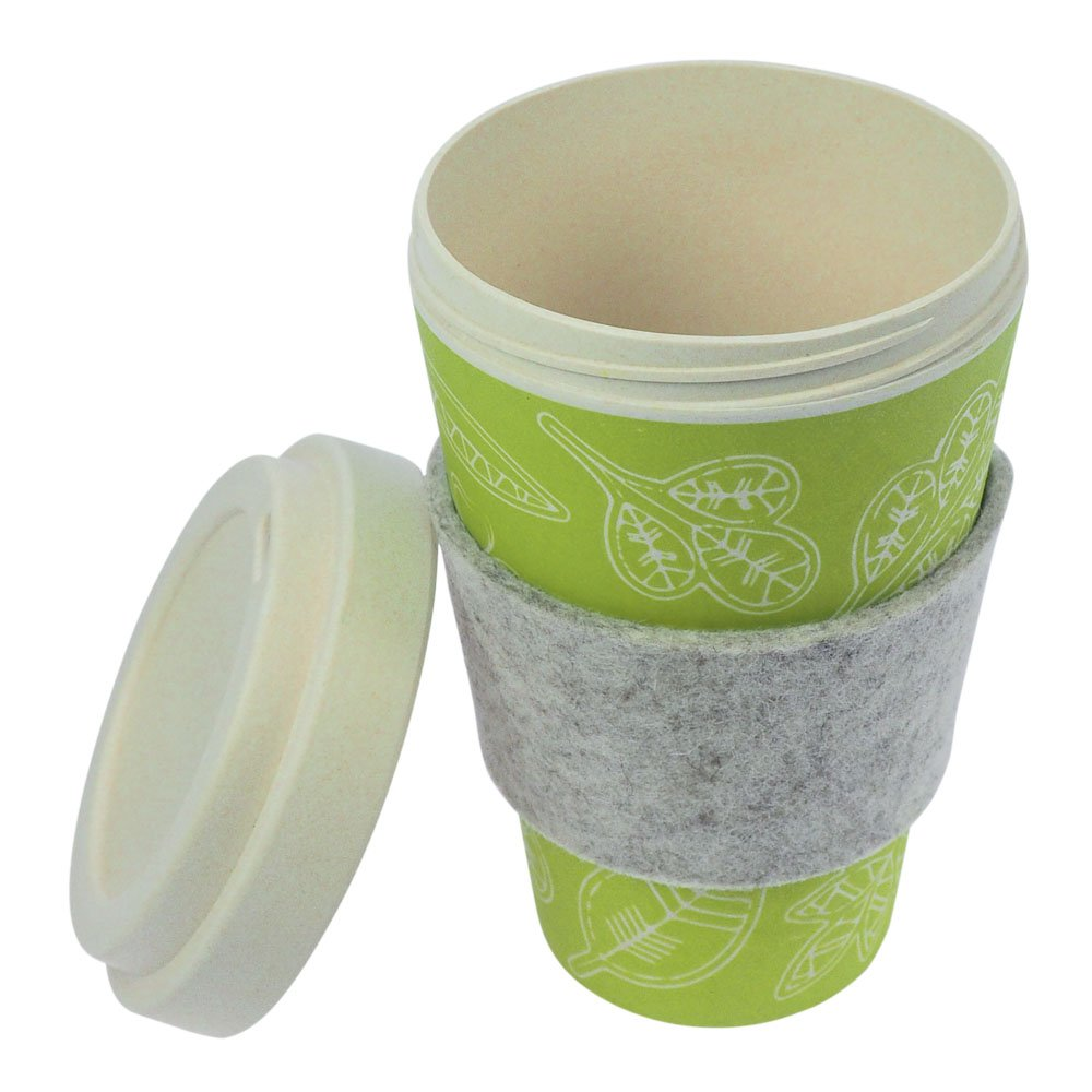 ebos 4er-Set Bambus Coffee-to-Go-Becher wiederverwendbar Trink-Becher Dynamic Griffring aus Wollfilz sp/ülmaschinengeeignet Schraubdeckel Kaffee-Becher umweltfreundlich