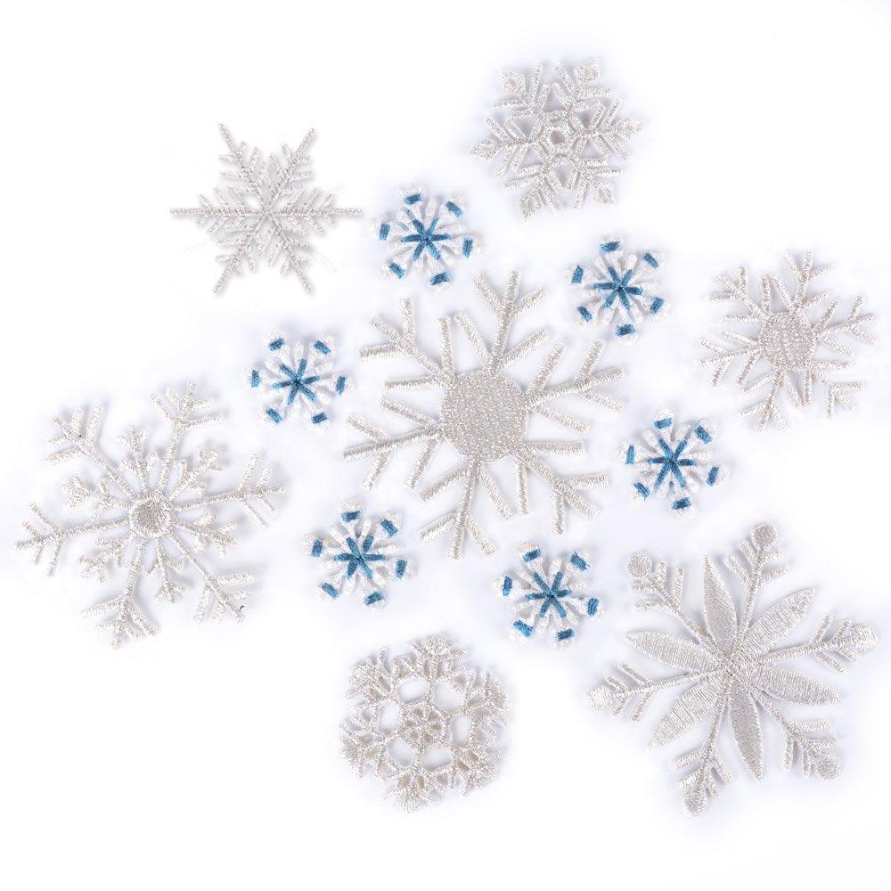 13pcs Parches Bordados Termoadhesivos de Nieve Blanca y Azul ...