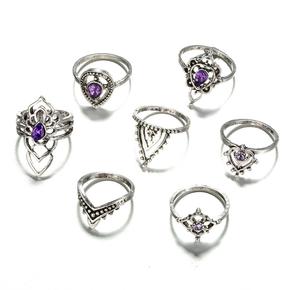 Retro 7 Pcs Metals Knuckle Rings Set Purple Crystals Waterdrop Silver Ring for Women MISSU JEWELLRY