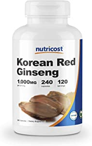 Nutricost Korean Ginseng 500mg, 240 Capsules - 1000mg Extra Strength Serving Size - Korean Red Ginseng - Gluten Free & Non-GMO