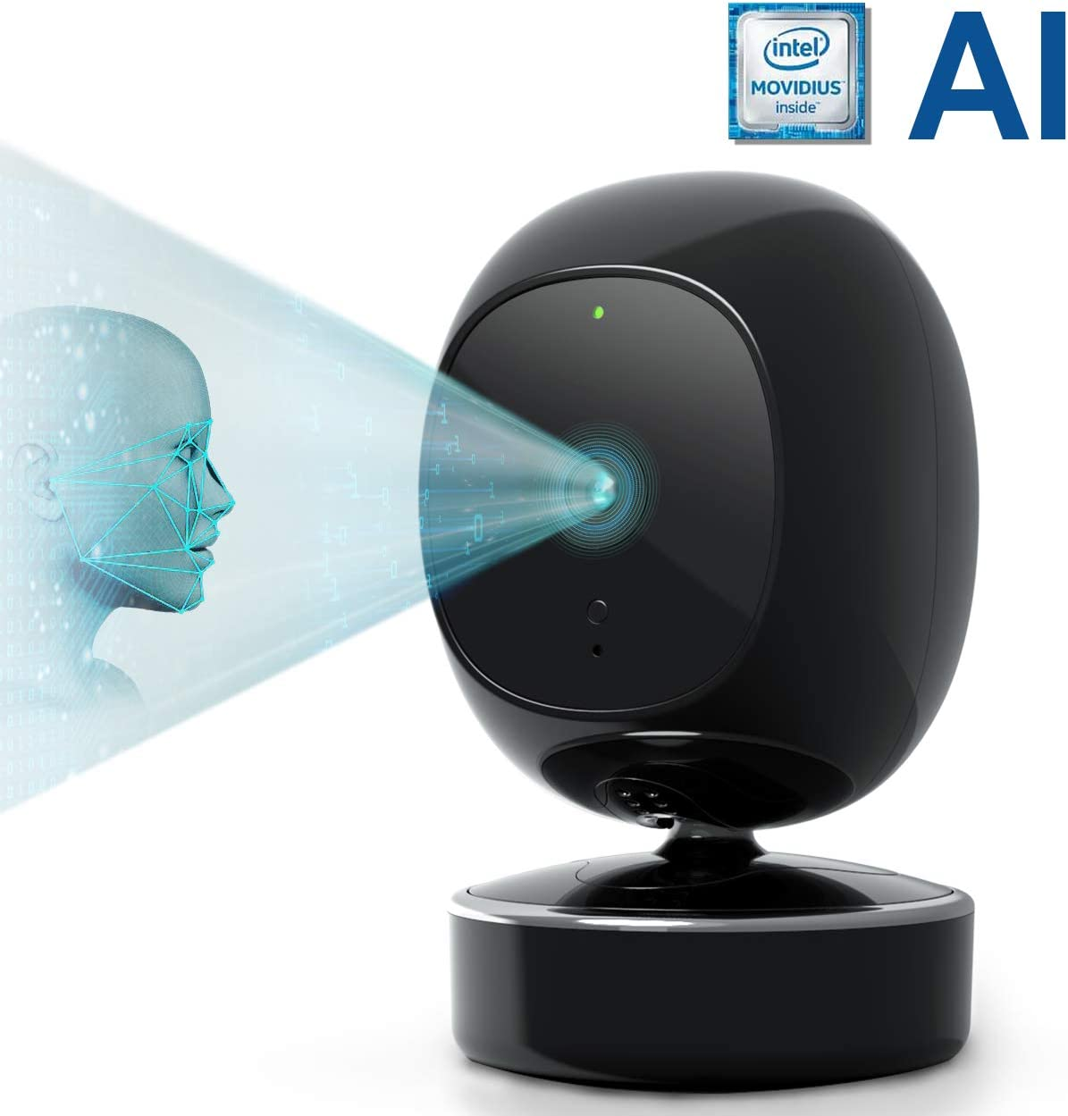 SimCam AI Home Security Camera - On-Device AI Indoor Security Camera with Face Recognition,Person Detection, 360 Pan, Intel Processor,1080P, Night Vision, 2-Way Audio,Work with Alexa Google Assistant